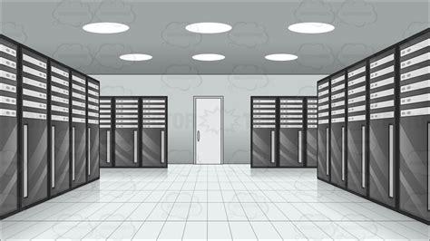 Watermark Floor Plan cartoon clipart inside a server room at a data center