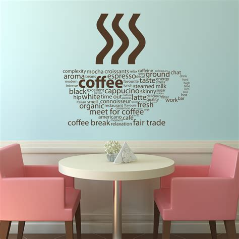 wall transfer stickers coffee types kitchen cafe wall decals wall stickers