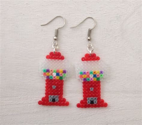 perler bead earrings gumball machine perler bead earrings