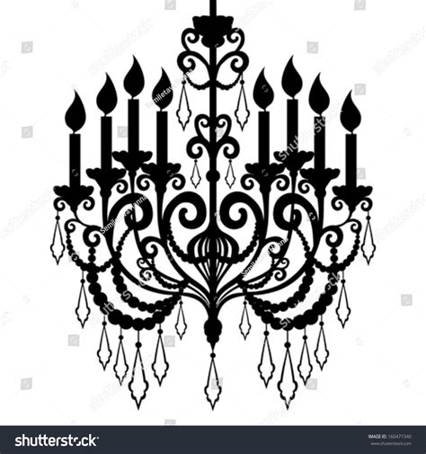 italian chandelier illustration chandelier silhouette isolated on white background stock
