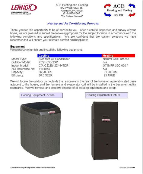 hvac proposal template type of business report sample