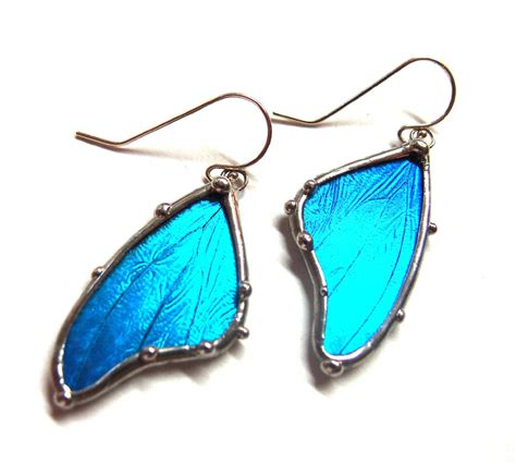 how to make butterfly wing jewelry blue morpho butterfly wing earrings real butterfly jewelry