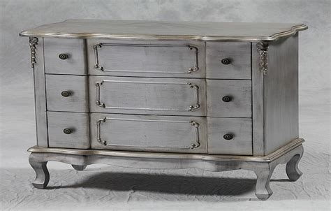 shabby chic silver leaf 3 drawer chest furniture country
