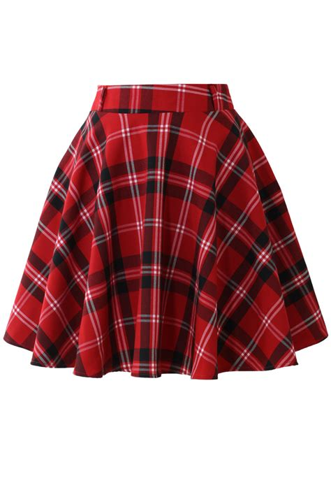 Tartan Carpets by Red Plaid Check Skater Skirt Retro Indie And Unique Fashion