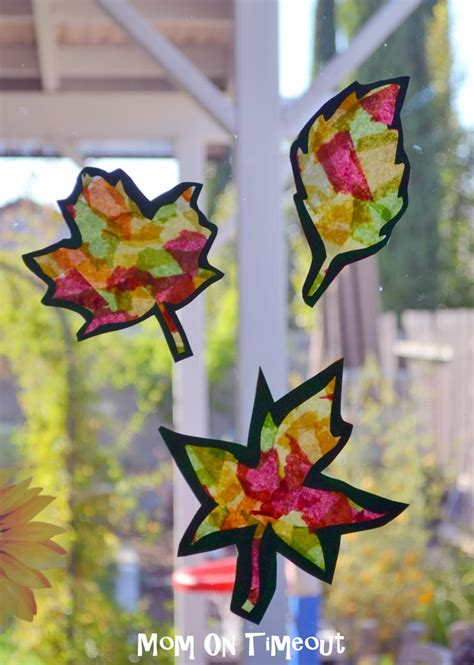 tissue paper leaf craft stained glass leaves craft activities for the
