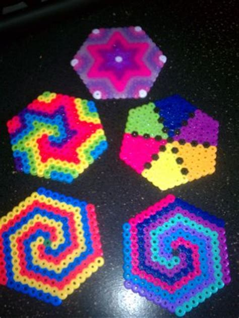 awesome hama free cool perler bead hexagons earrings ornaments