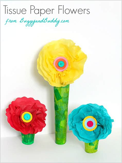 paper flower craft for children tissue paper and cardboard flower craft buggy and buddy