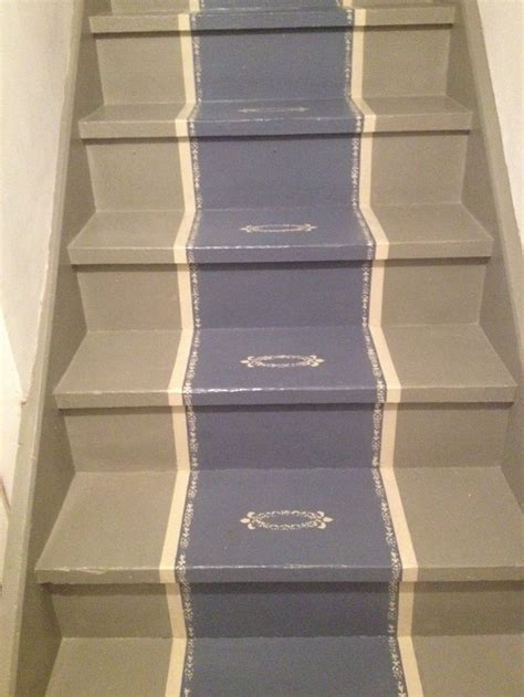chalk paint stairs faux staircase runner painted in sloan chalk paints