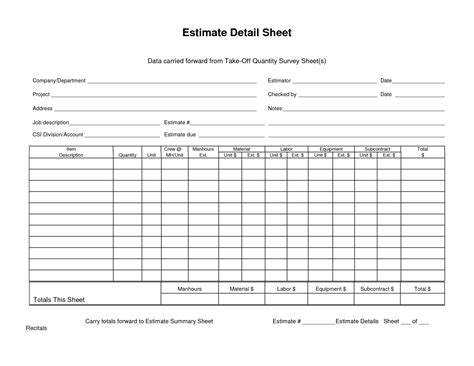 Estimating Cost To Build A House estimate detail sheet
