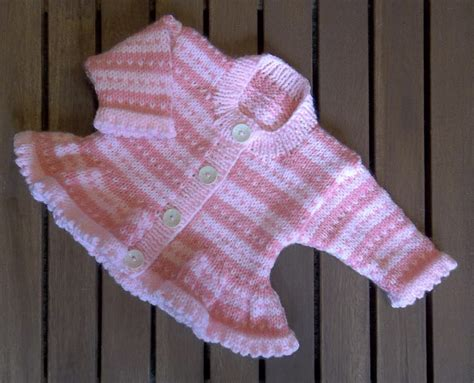 baby sweater knitting patterns in baby pink stripe fair isle cardigan knitting