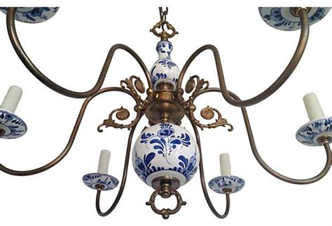blue and white chandelier 1950s blue white porcelain chandelier omero home