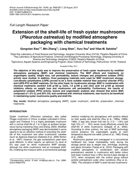 Modified Atmosphere Packaging Low Density Polyethylene by Extension Of The Shelf Of Fresh Oyster Mushrooms