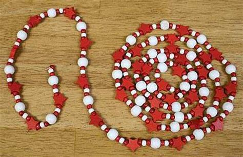 wooden bead garland for trees 6 white and wooden and bead garland