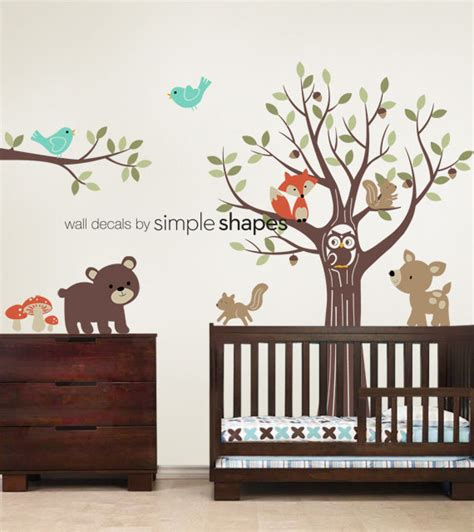 forest nursery wall decals tree with forest friends decal set kid s nursery by