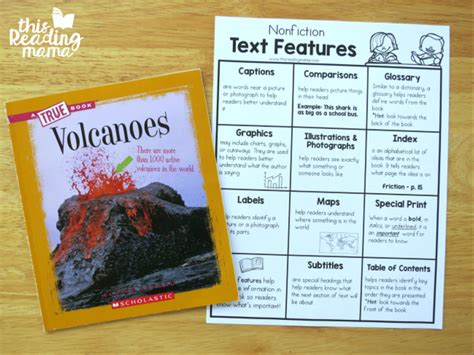 picture book texts nonfiction text features chart this reading