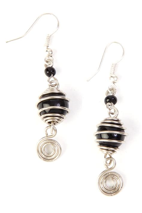 black bead earrings encircled wire and black bead earrings earrings
