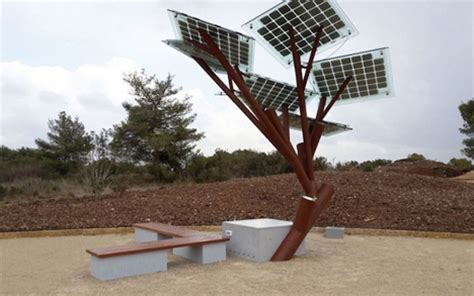 solar trees outdoor phone chargers are artificial solar powered trees
