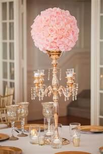 gold table centerpieces gold candelabra pink wedding reception centerpiece