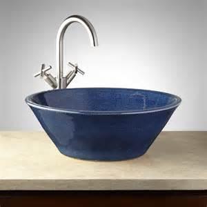 Pottery Vessel Sinks by Hartwick Hand Glazed Pottery Vessel Sink Ocean Blue