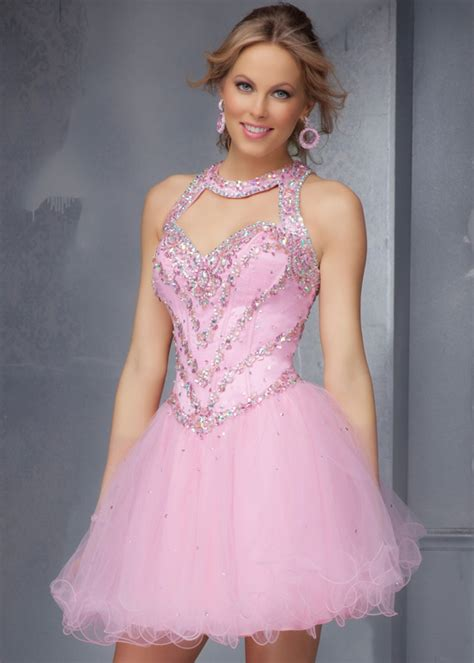 pink beaded dress pink beaded straps open back sweetheart ruffled homecoming