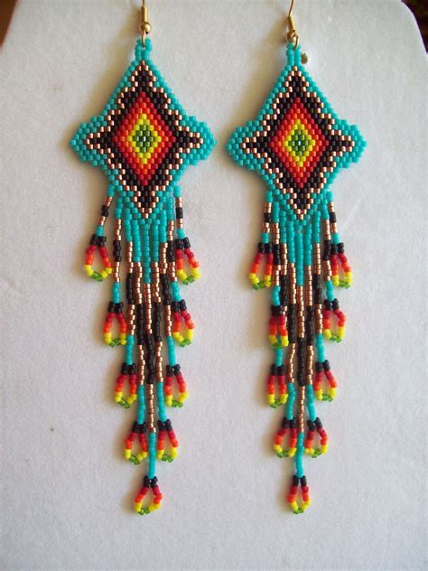American Beaded Turquoise Firey Sunburst Earrings