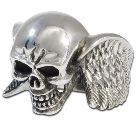 silver skull winged sterling silver skull ring evilrings