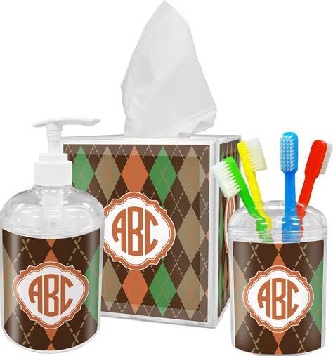 brown bathroom accessories sets brown argyle bathroom accessories set personalized