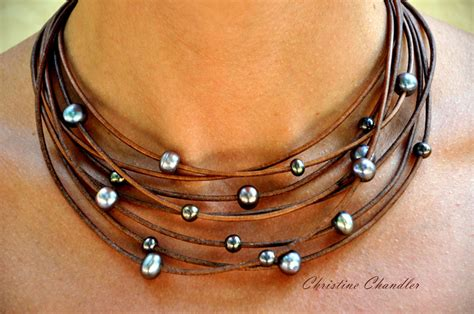 leather jewelry pearl and leather necklace multi strand brown with peacock