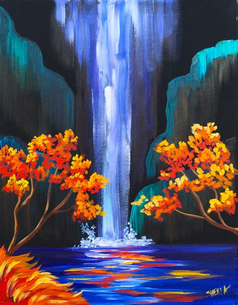acrylic painting forest tutorial autumn aloha easy step by step waterfall acrylic painting