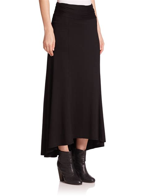 black knit maxi skirt three dots knit hi lo maxi skirt in black lyst