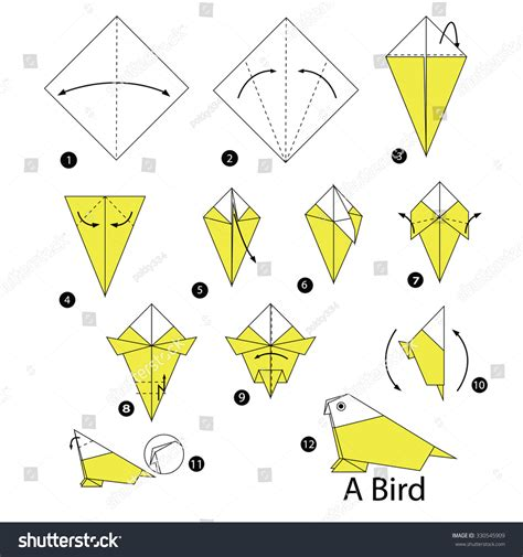how to make a bird with origami step by step how to make origami bird stock