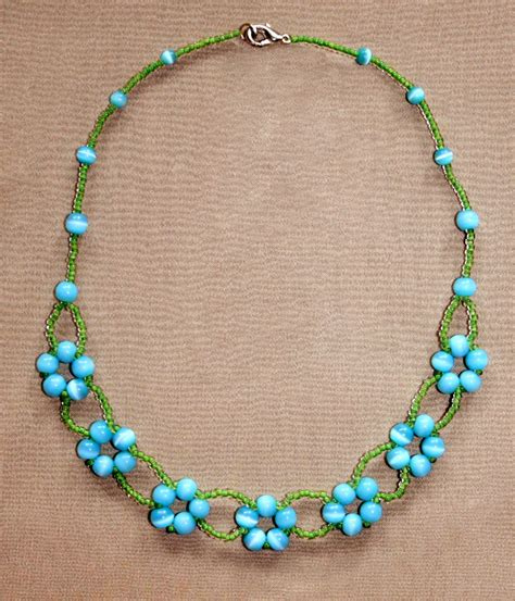 beaded necklaces ideas free pattern for beaded necklace blue flowers magic