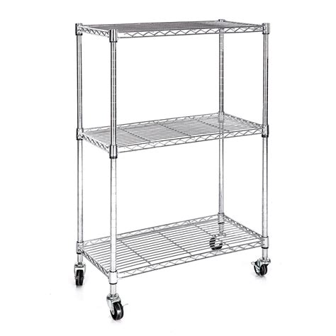 wire shelving with wheels heavy duty chrome 3 tier wire shelving rack cart unit w