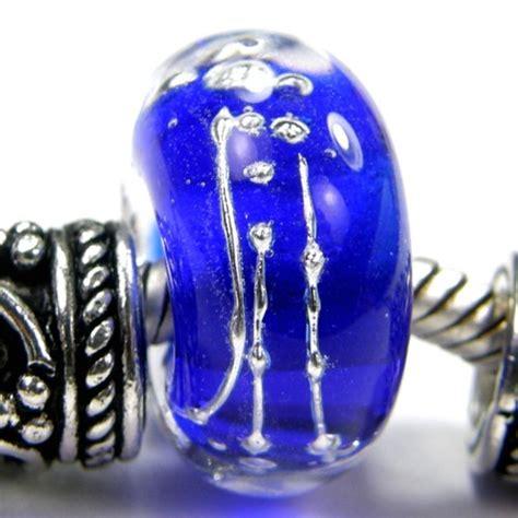 charming bead shop cobalt blue with silver large lwork glass slider