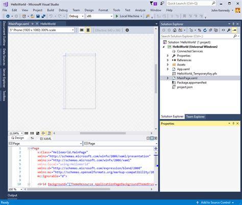 programs like studio create a hello world app xaml uwp app developer