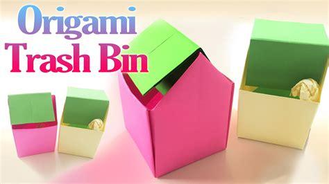 origami garbage bin how to make an origami trash bin step by step paper