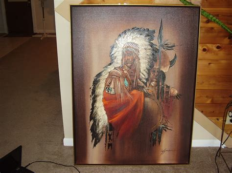 Vintage Modern Bedroom wyman oil of indian chief and medicine man
