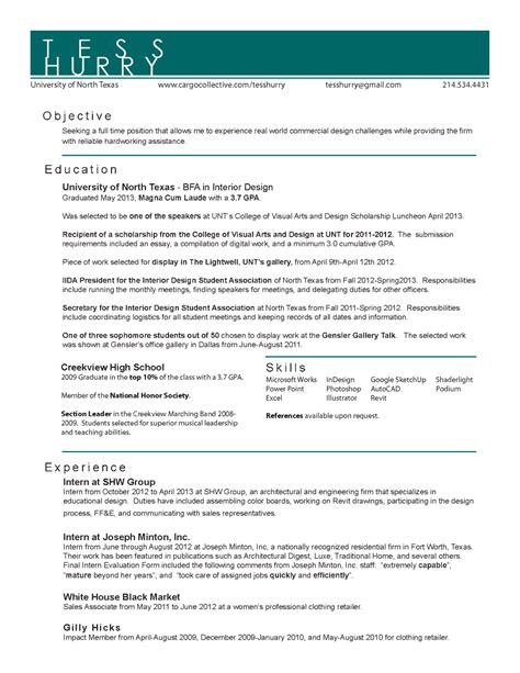 interior design resume templates interior designer resume template