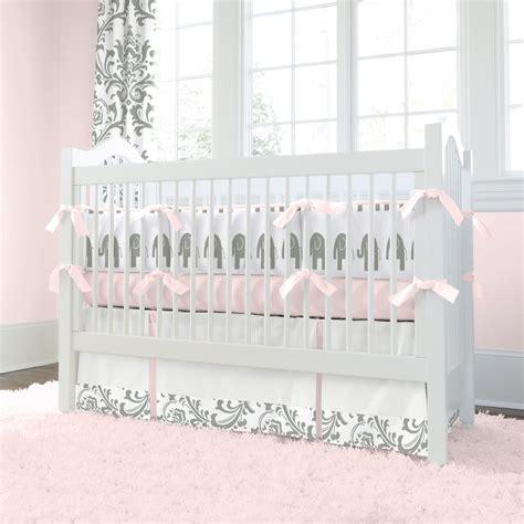 crib bedding sets pink and gray pink and gray elephants 3 crib bedding set