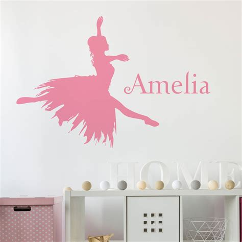 personalised wall stickers personalised ballerina wall sticker by nutmeg