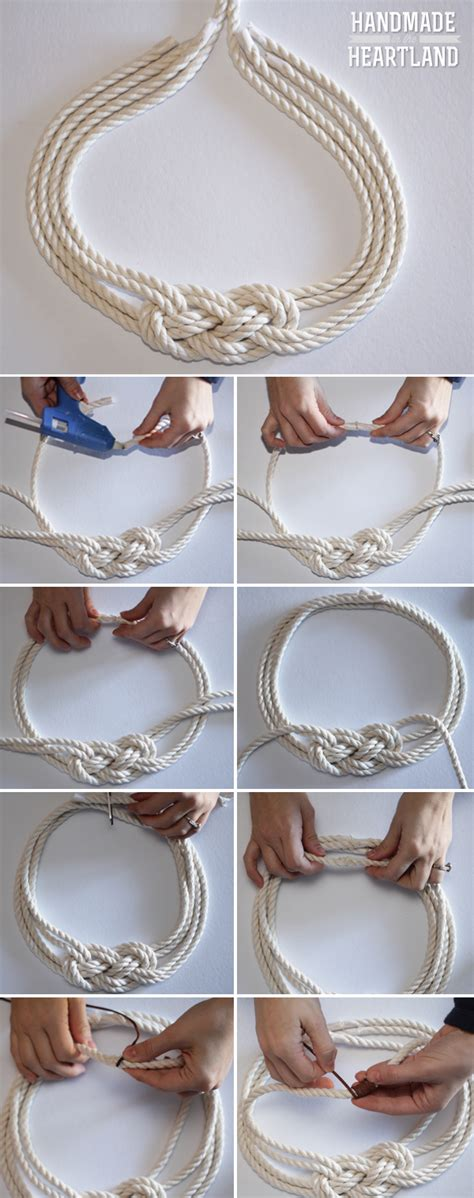 how to make steunk jewelry tutorial diy nautical knot rope necklace handmade in the heartland