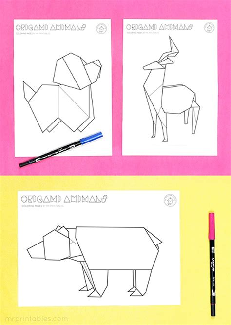 origami printouts origami animal coloring pages mr printables