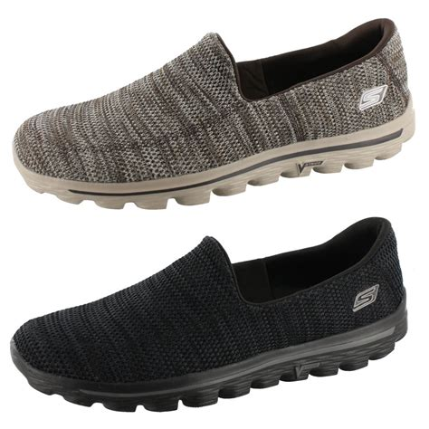 skechers knit shoes skechers go walk 2 fit knit mens 53975 slip on shoes ebay