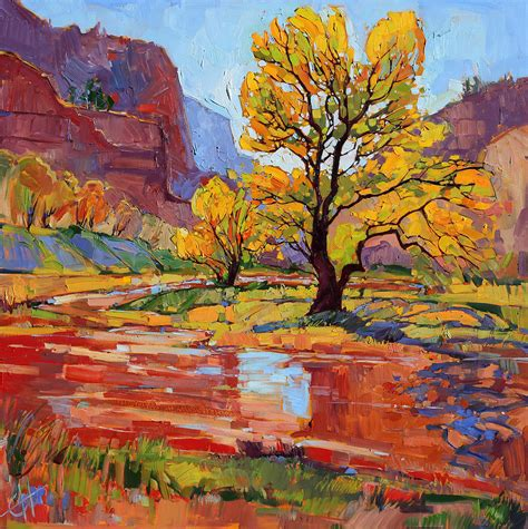 zion acrylic painting reflections in the wash painting by erin hanson