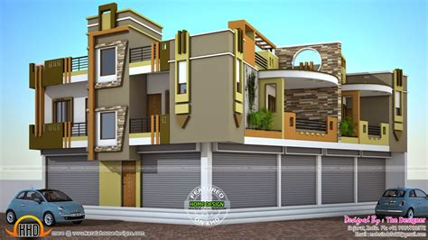 home design shops 2 house plans with shops on ground floor kerala home
