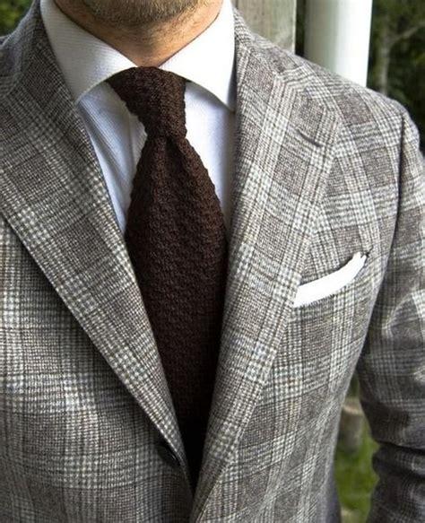 brown knit tie gray glen plaid suit jacket white textured oxford brown