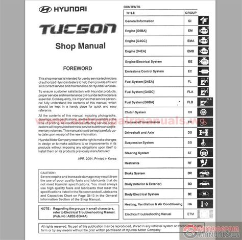 service manual pdf 2006 hyundai tucson workshop manuals 2007 hyundai tucson shop manual hyundai tucson 2004 service manual auto repair manual forum heavy equipment forums