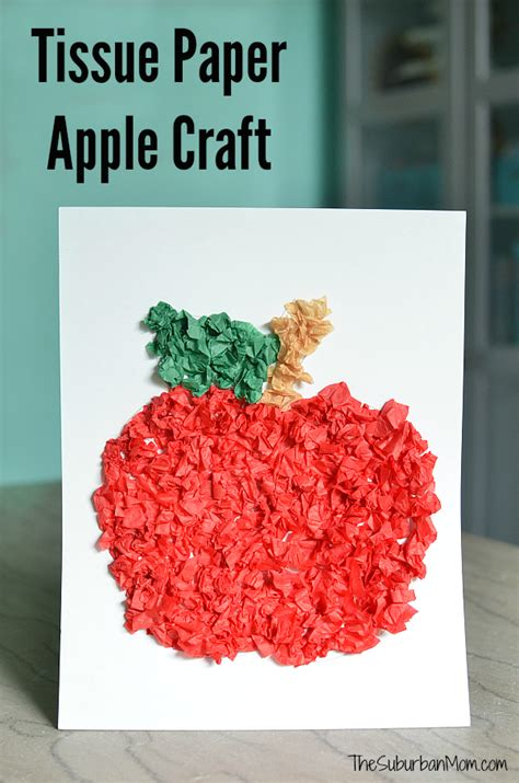 craft work with tissue paper tissue paper apple craft for preschoolers