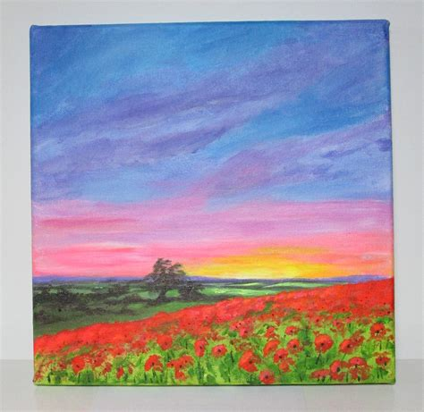 acrylic painting description original acrylic painting poppies at sunset