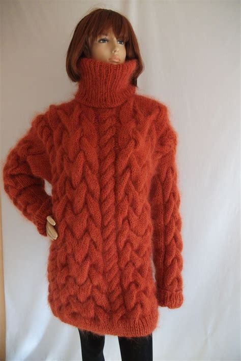 thick cable knit sweater thick chunky cable knitted mohair merino turtleneck